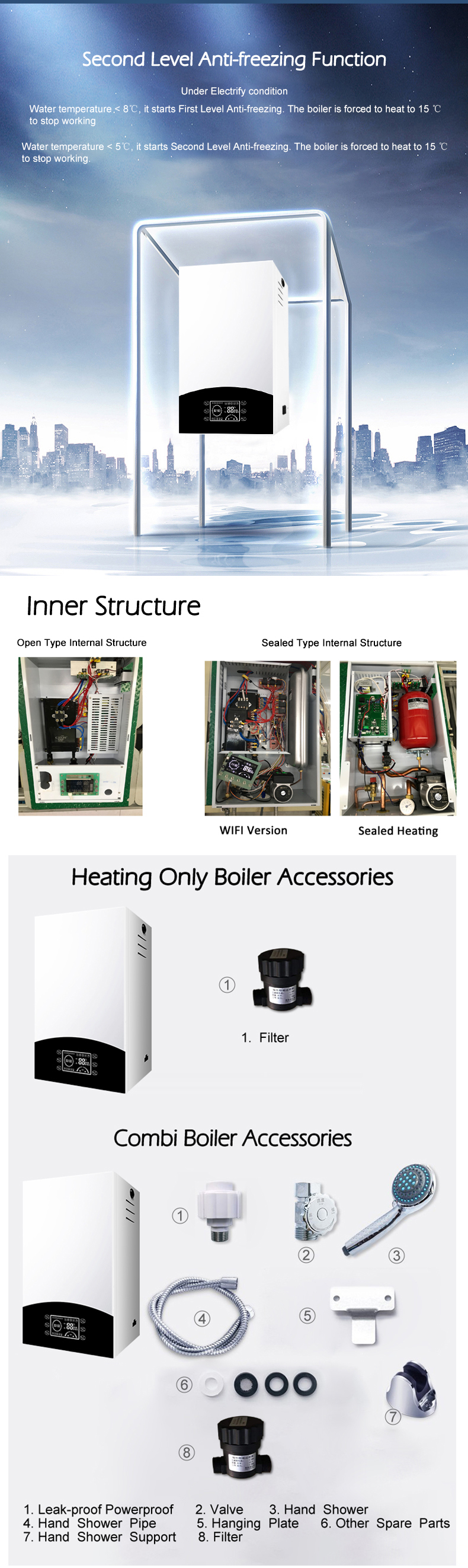 10KW OFS-AQS-S-S-1 Wifi Control Latest Ideal Classic  Mini Domestic Electric Boiler For Radiant Heat