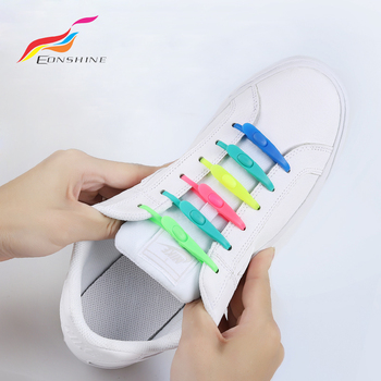 14 Pcs/Lot Exquisite Non Slip  Adults and Children Elastic Silicone Shoelaces