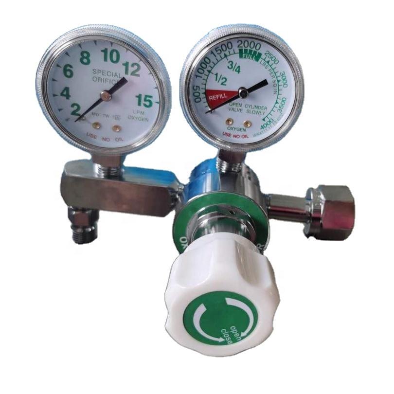 Régulateur d'oxygène à Double jauge en acier inoxydable, régulateur pour le marché péruvien