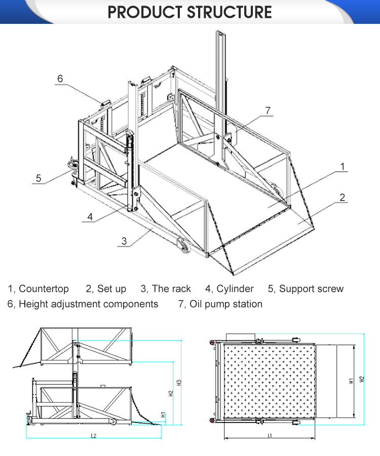 Concurrerende prijs! 2t Hoge prestaties mobiele elektrische hydraulische verticale lift werk platform voor truck
