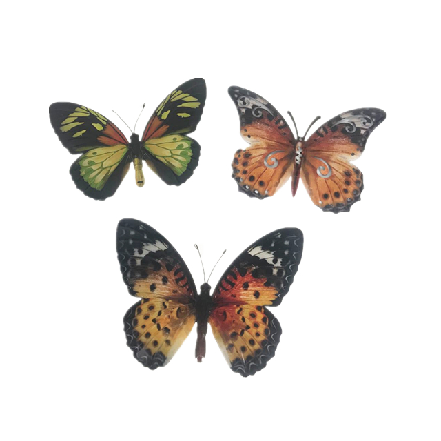 Set of 3 Metal 3D Colorful Butterfly hanging Wall Art Set