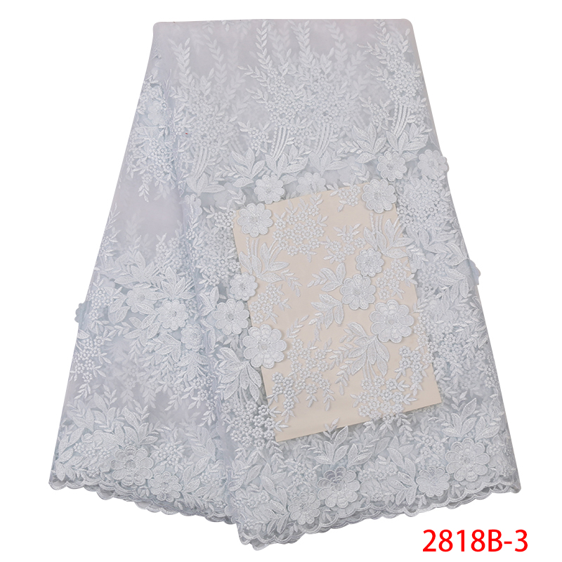 Latest African Laces 2020 High Quality French Lace Fabric With Beads 5Yards Embroidery lace applique For Women Party XZ2818B