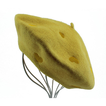 Custom Embroidery yellow ribbon plain Wool Beret