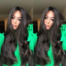 Женские черные кружевные передние парики длинные волнистые синтетические человеческие волосы высокая температура волокна средняя часть н...(Китай)