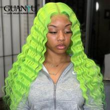 Синий кудрявый парик из человеческих волос на фронте, бразильские волосы Remy, Омбре, блонд, розовый, красный, зеленый, фиолетовый, 13X4, кружевно...(Китай)