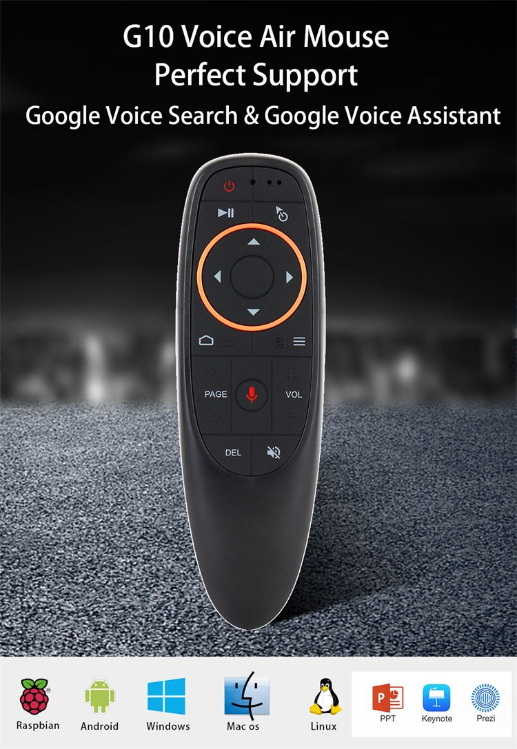 Professional design G10 Wireless google voice assistant remote control 2.4g air mouse