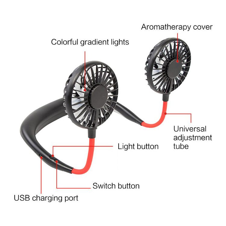 JMK Smart 2020 Hot Sale Lazy Wearable Portable Summer Neck Band Dual Rechargeable USB Led Neck Hang Fan