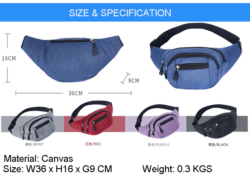 Hiking Waist Bag Wholesales Outdoor Sports Canvas Fanny Bags Lightweight Bum Bag Multiple Pockets Waist Packs