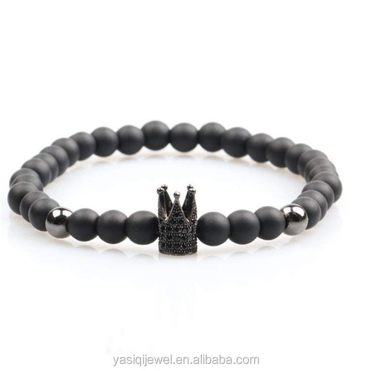 wholesale gemstone Matte Black Onyx Stone Micro Pave Cubic Zirconia Imperial Bead Bracelet for Men