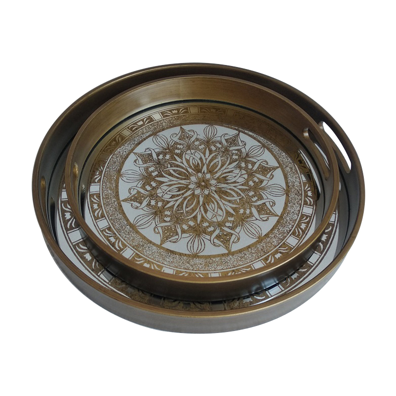 सोने के फूल दर्पण देखो गोल आकार भंडारण ट्रे प्लास्टिक फ्रेम मुद्रण ग्लास संभाल के साथ चाय लक्जरी सेवारत ट्रे