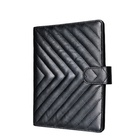 Fashion Organizer Diary Planner Notebooks & Writing Pads A5 6 Ring Binder Black Quilt Leather Planner