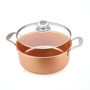 copper cookware casserole with ceramic non stickcoating induction compatible