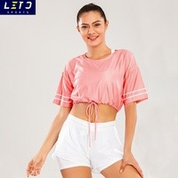 Wholesale Girls T-shirt Fitness Clothing Women Sports Shirt Factory Price Activewear Drawstring Mesh Hole Crop Top T Shirt