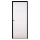 Custom Bathroom Frosted Glass black Aluminium Casement swing Door