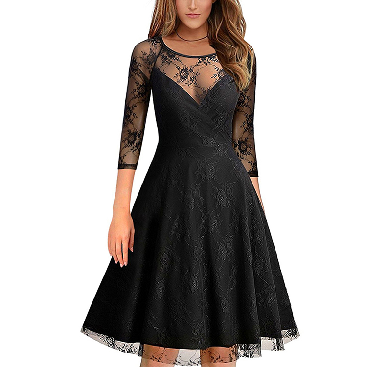LE-19101545 New Fashion Deep V Neck Transparent Black <strong>Lace</strong> Half Sleeve Sexy <strong>Skater</strong> <strong>Dress</strong> Women