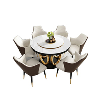 Luxury Mental Stainless Steel Frame Gold Round Marble Top Rotating Dining Table 6 Chairs
