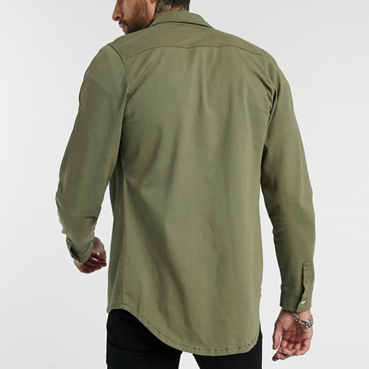 Chemise en jean à manches longues pour homme, kaki, à la mode, décontractée, de meilleure qualité