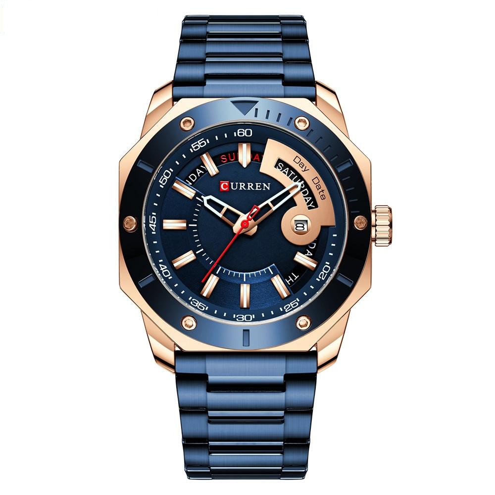 Heißer Verkauf CURREN 8344 Marke männer Quarzuhr wasserdicht woche display Edelstahl Kalender Handgelenk Uhren Für Männer
