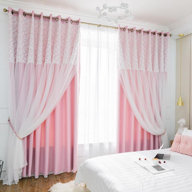 Innermor Blackout + Renda Tirai untuk Ruang Tamu Double Layer Elegant Pink Kecil Daisy Renda Anak-anak Tirai untuk Kamar Tidur Wanita