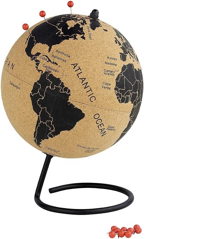 중간 코르크 글로브 7 인치 데스크탑 세계 글로브 교육 세계지도 회전 글로브 테이블 장식 교실