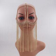 WKOUD EAM Женская длинная металлическая цепочка с кисточками, темпераментная маска для ювелирных украшений, вечерние аксессуары, подарок ZJ471, ...(Китай)