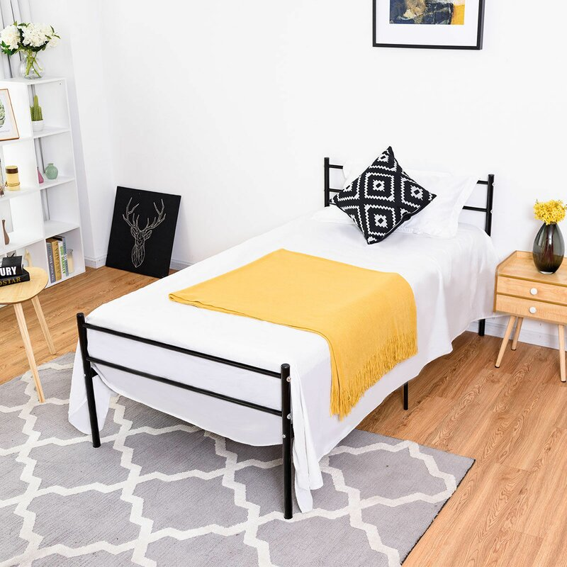 Commercial wrought iron easy assembly single decker bed king size frame bedroom furniture single with ladder for adult