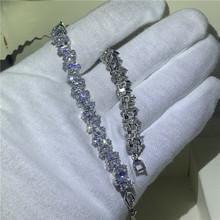 Женский и мужской браслет ручной работы, вечерние серебряные браслеты в стиле хип-хоп с фианитом, AAAAA(Китай)