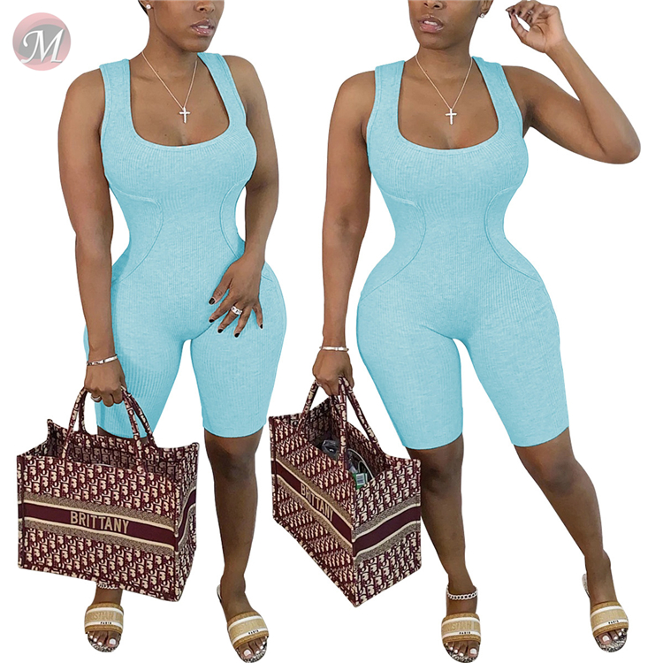 0060612 Hot fashion elastic solid color sleeveless sexy bodycon sports jumpsuit Women One Piece Jumpsuits And Rompers