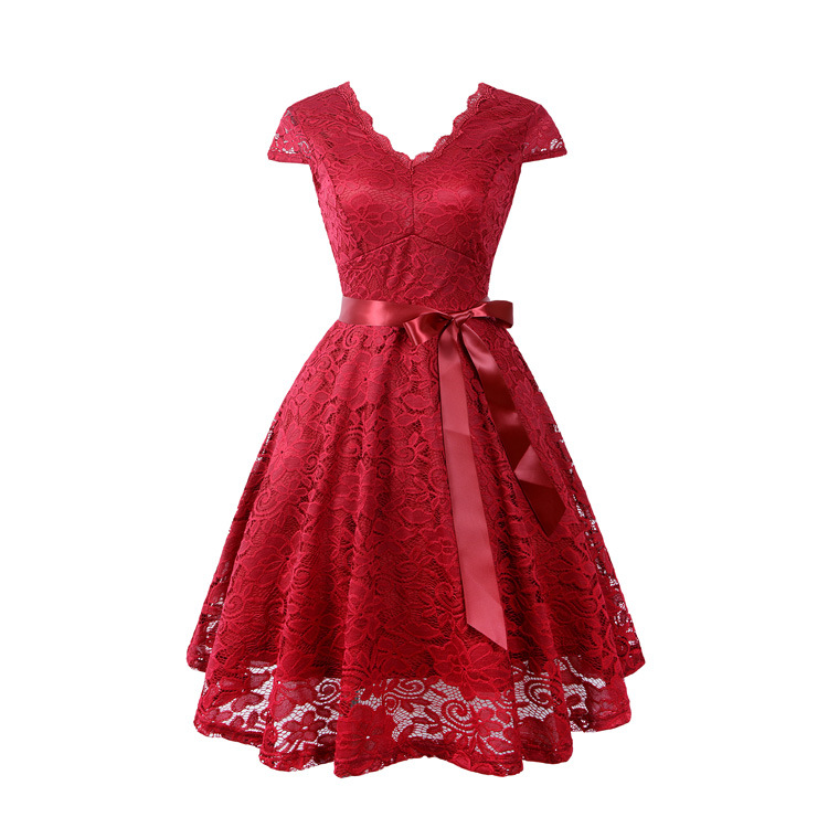 Women's Red Elegant V Neck Cocktail <strong>Skater</strong> <strong>Lace</strong> <strong>Dress</strong> Ladies Sexy Bowknot Bridesmaid Adult Evening Party <strong>Dresses</strong>