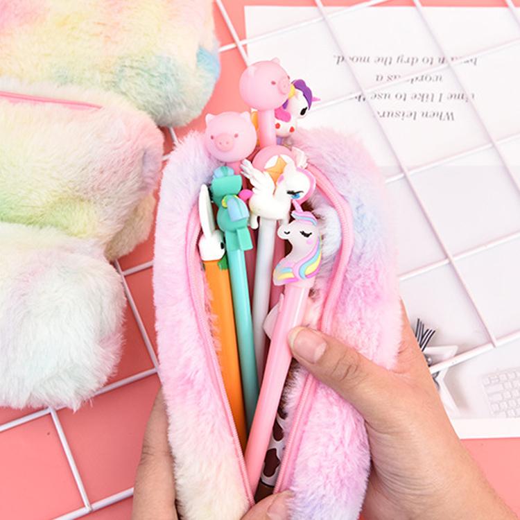 Creative Girls Colorful Cute Fur Pencil Bag School Pink Purple Gradient Plush Pencil Case