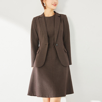 2020 ladies Brown long sleeve dress and jacket suit set women business suit female