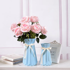 White Home Decor Porcelain Flower vases with folded effect