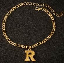 Модные A-Z браслеты на щиколотке с буквенным принтом, металлические вечерние браслеты с подвесками, регулируемый браслет с буквенным принто...(Китай)