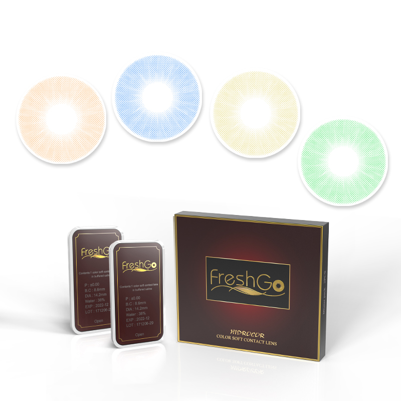 Freshgo En Gros Confortable Hidrocor Lentilles de Contact Doux Cercle Couleur Contacts 1 An Cristallin Naturel Couleur Lentilles de Contact