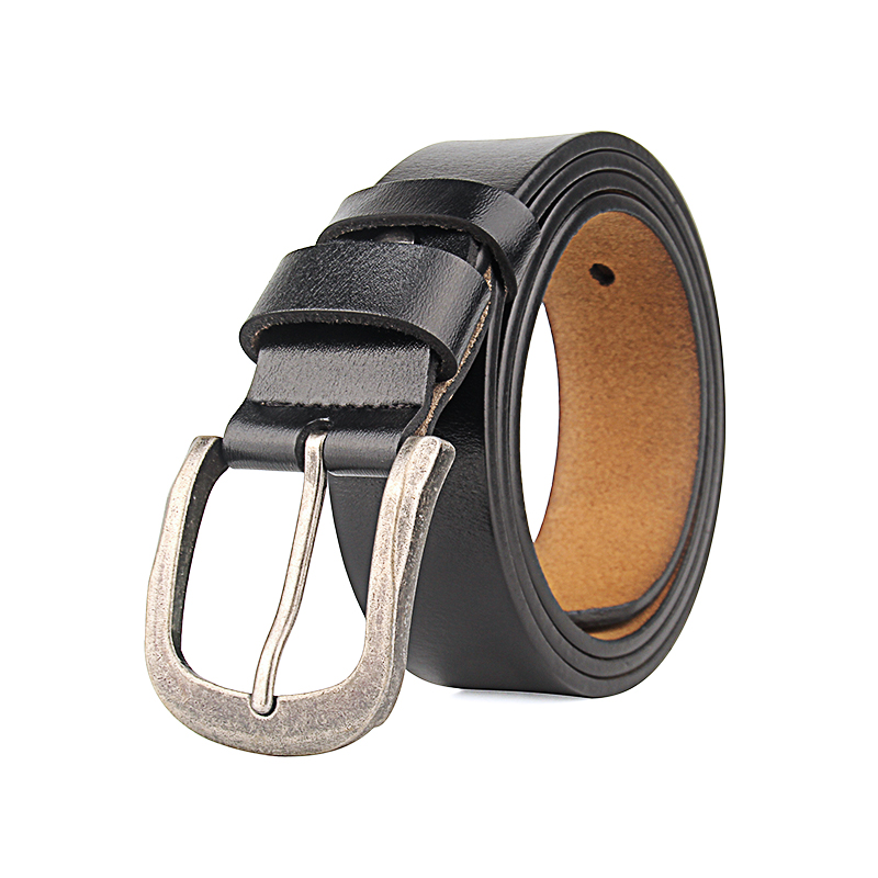 Manufacturers wholesale brown black antique silver fashion belt buckle leather belt pin buckle long code 140-150cm men's belt
