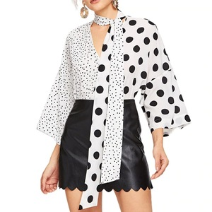New Design polka dot printed v-neck flare sleeves asymmetrical models chiffon silk blouses women top clothes