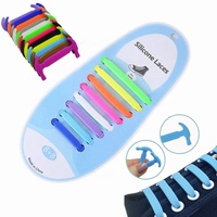 16Pcs/Set Kids Adults Lazy Flat Sport Rubber Shoelaces Durable Waterproof Stretchy Silicone Elastic Tieless No Tie Shoe Laces
