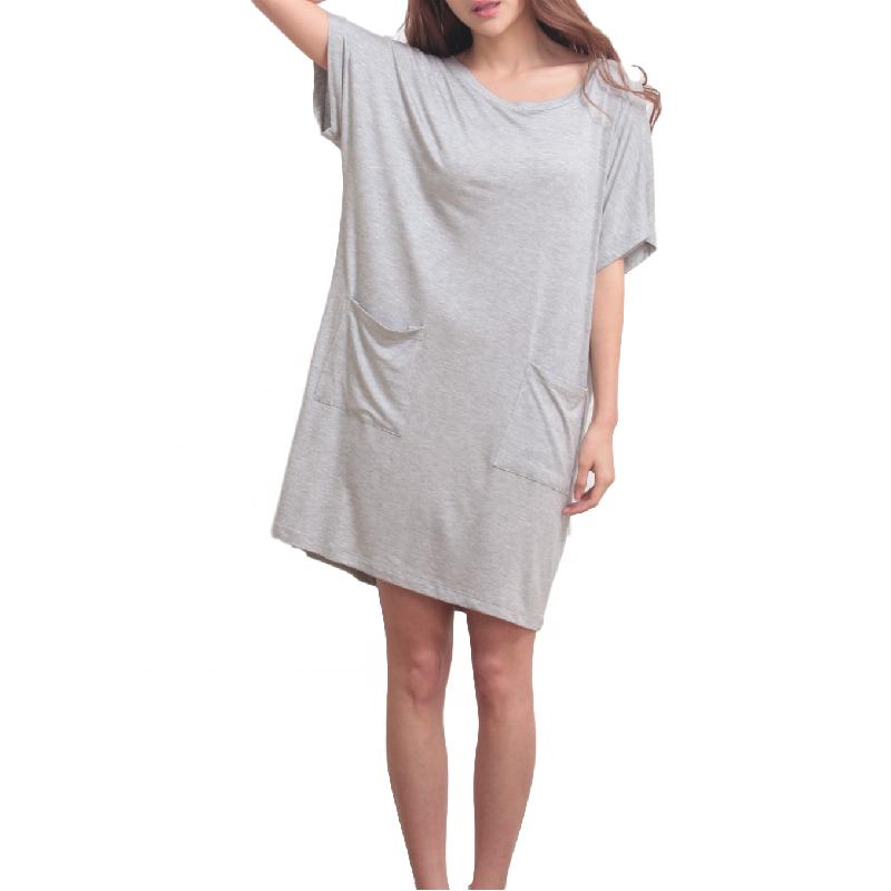 Cómodo tejido de bambú bolsillo dormir vestido T noche camisa camisetas señoras ropa de dormir pijamas vestido de salón desgaste de las mujeres