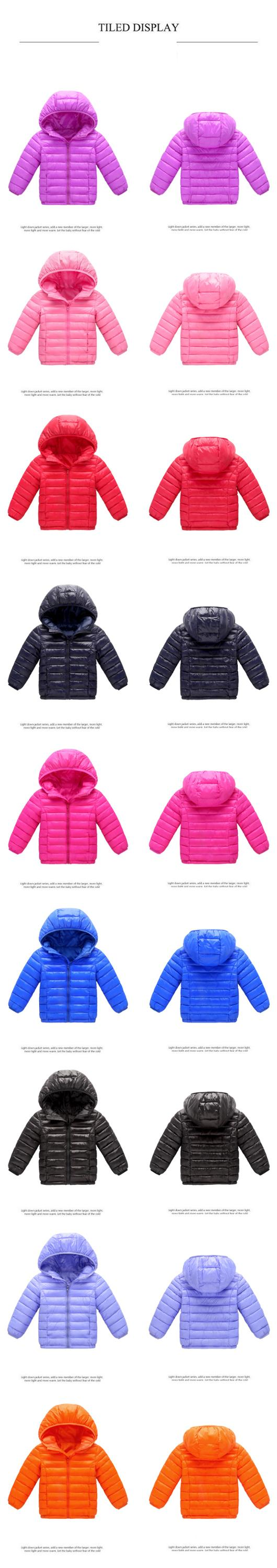 new kids clothing for boys and girls lightweight down jacket short style baby wadded jacket