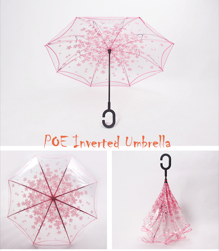 cheap poe umbrella rain umbrella transparent printed three fold umbrellas from Xiamen Hoda