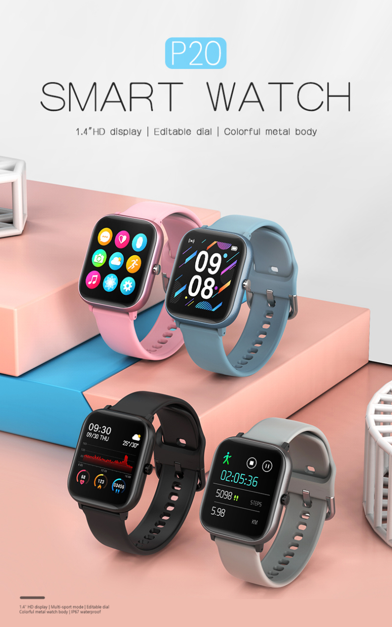2020 New 1.4 Inch HD Color Display Screen Waterproof Heart Rate Monitoring Messages Reminder Multi-Sport Mode Smartwatch P20