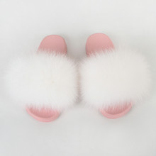 Женская обувь, домашние меховые тапочки, летние шлепанцы, пушистые шлепанцы для дома, плоские женские сандали из натурального меха лисы, взр...(Китай)