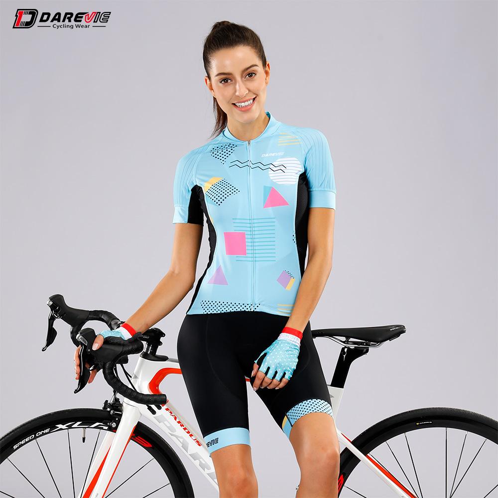 Darevie custom women spring/summer cycling sets, bib shorts with 6.8cm  Italy leg band cycling kit
