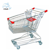 Wholesale durable mall folding wheel Cart plastic handle supermarket Shopping Trolley