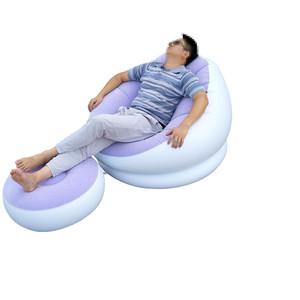Portable Lazy sofa Couch Single Balcony Nap Inflatable Small Sofa Bed Bedroom Leisure Inflatable Lounge Chair & Ottoman Set