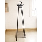 Home Metal Rack Display Clothing Hanger Black Garment Coat for Bedroom with Bottom Storage