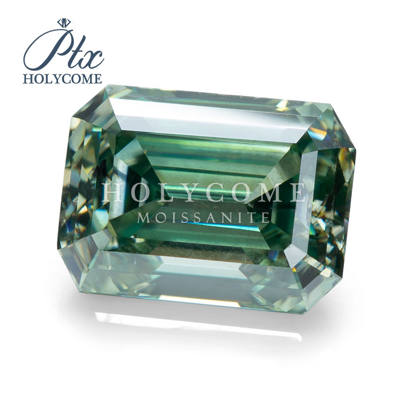 Holycome moissanite Jewelry Synthetic Gemstone DEF Green Emerald Cut 6*9mm Moissanite <strong>Diamond</strong>