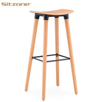 Modern Plastic Wooden Seat Wooden Leg Bar Stool for Dining Restaurant