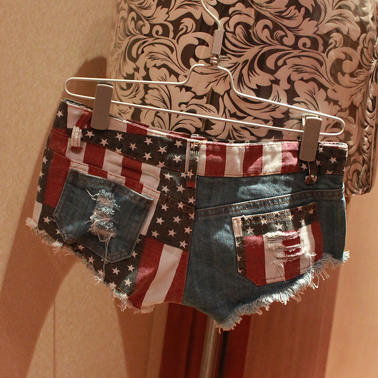2019 Wholesale Fashion Summer Low Waist Beach Wear Ripped American Flag Denim Women Sexy Micro Mini Shorts