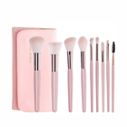 Loli 9 Pcs Loli Powder Wooden Handle Makeup Brushes With Brush Bag Makeup Brush Tools